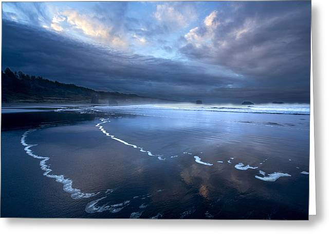 Foggy Beach Greeting Cards - Darkly Dawn Greeting Card by Debra and Dave Vanderlaan