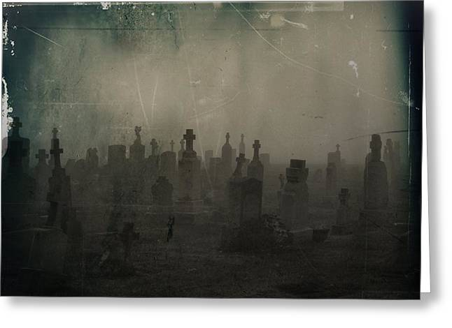 Tombstones Greeting Cards - Darkness Begins Greeting Card by Gothicolors Donna Snyder