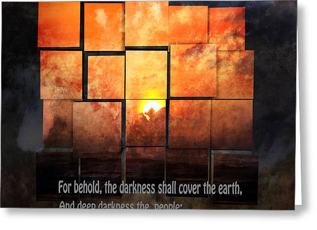 Tangerines Mixed Media Greeting Cards - Darkness Covers The Earth Greeting Card by Beverly Guilliams