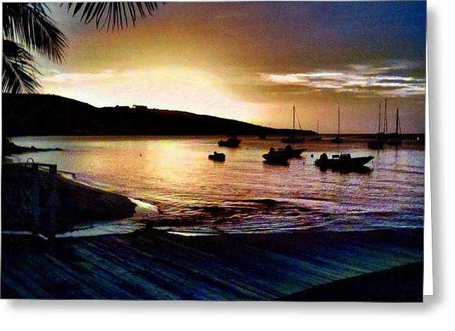 Gloaming Greeting Cards - Darkness Decending on Harbor - Square Greeting Card by Lyn Voytershark