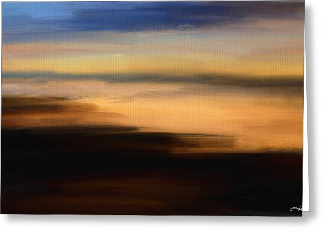 Abstract Seascape Art Greeting Cards - Darkness Dreams Greeting Card by Lourry Legarde