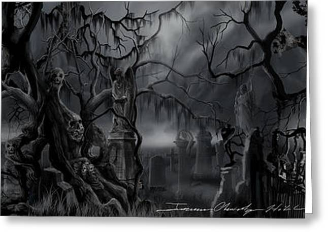 Thunderstorm Greeting Cards - Darkness Has Crept in the Midnight Hour Greeting Card by James Christopher Hill