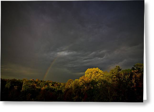 Dark Skies Pyrography Greeting Cards - Darkness Light and Rainbows Greeting Card by Shirley Tinkham