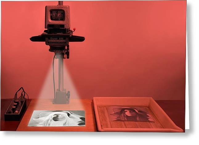 Durst Greeting Cards - Darkroom photograph enlarger Greeting Card by Science Photo Library