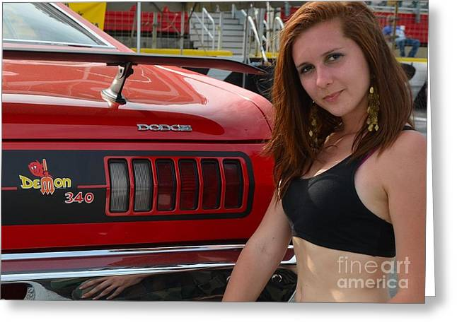 Mopar Collector Greeting Cards - Darling Dodge Demon Greeting Card by Mark Spearman