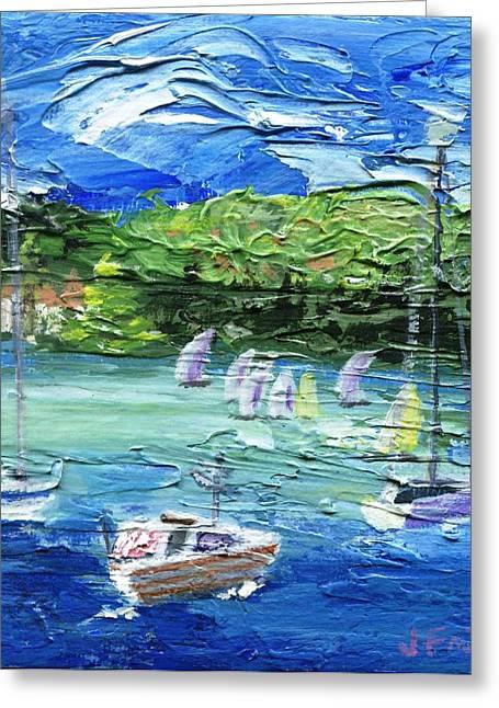 Pallet Knife Greeting Cards - Darling Harbor II Greeting Card by Jamie Frier