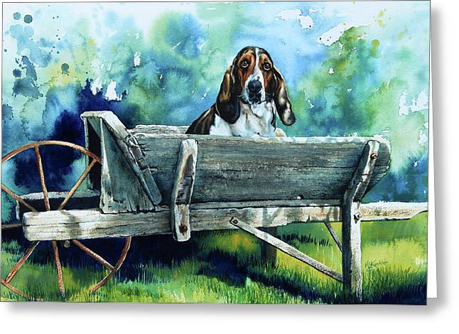 Blue And Green Greeting Cards - Darn Dog Days Greeting Card by Hanne Lore Koehler