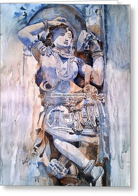 Carving Sculptures Greeting Cards - Darpan Sundari means beautiful Lady with a mirror Greeting Card by Rajesh Desai