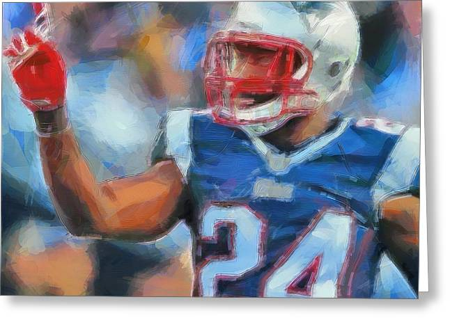 Patriot League Greeting Cards - Darrelle Revis Greeting Card by Dan Sproul