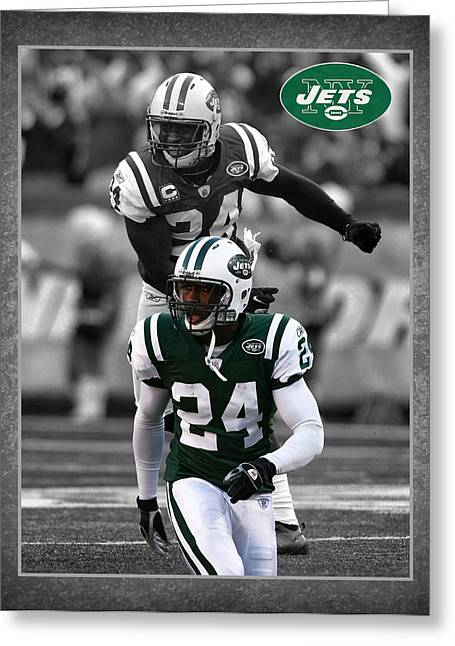 New York Jets Greeting Cards - Darrelle Revis Jets Greeting Card by Joe Hamilton