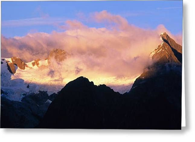 Snow Capped Greeting Cards - Darren Mtns Fiordland National Park New Greeting Card by Panoramic Images