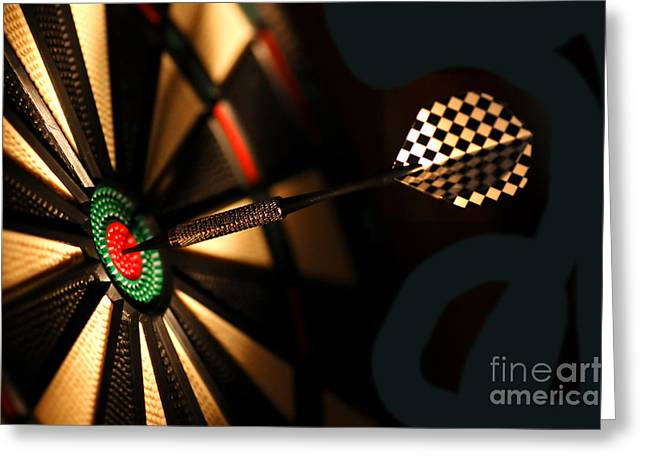 Dart Board In Bar Greeting Card by Michal Bednarek