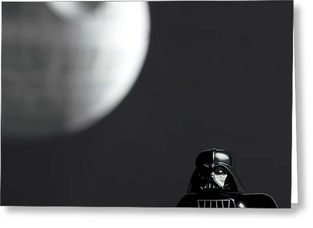 Lego Photographs Greeting Cards - Darth and His Death Star Greeting Card by Samuel Whitton