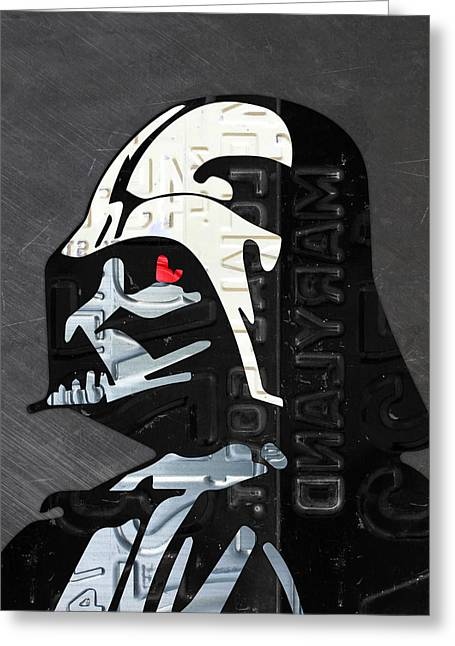 License Portrait Greeting Cards - Darth Vader Helmet Star Wars Portrait Recycled License Plate Art Greeting Card by Design Turnpike