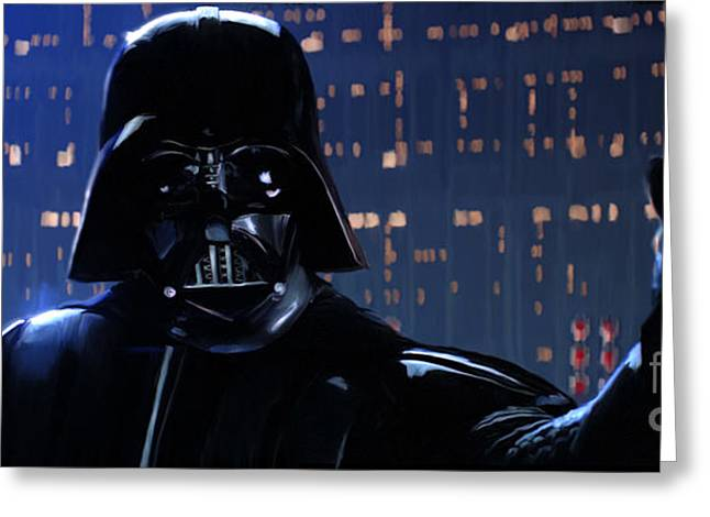 Recently Sold -  - City Lights Greeting Cards - Darth Vader Greeting Card by Paul Tagliamonte