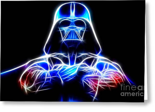 Saber Greeting Cards - Darth Vader - The Force Be With You Greeting Card by Pamela Johnson