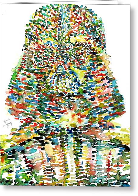 Skywalker Greeting Cards - Darth Vader Watercolor Portrait.1 Greeting Card by Fabrizio Cassetta