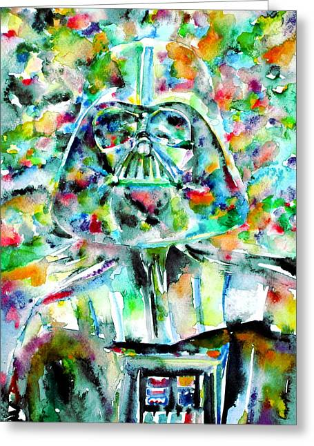 Psychedelia Greeting Cards - Darth Vader Watercolor Portrait.2 Greeting Card by Fabrizio Cassetta