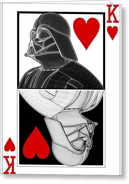 Darth Vader Ying Yang King Of Hearts Card Greeting Card by Nenad  Cerovic