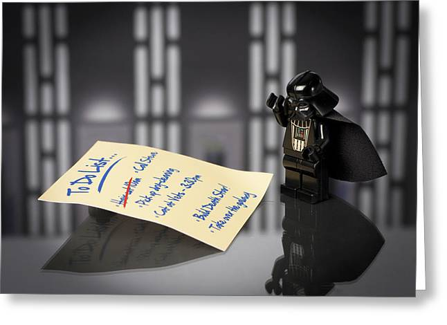 Recently Sold -  - Lego Greeting Cards - Darths To Do List Greeting Card by Samuel Whitton