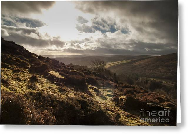 Dark Peak Greeting Cards - Dartmoor Drama Greeting Card by Jan Bickerton