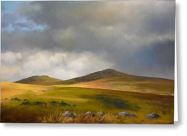 Tor Pastels Greeting Cards - Dartmoor shadows Greeting Card by James R C Martin