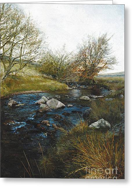 Babbling Paintings Greeting Cards - Dartmoor Stream Greeting Card by Glen Smith