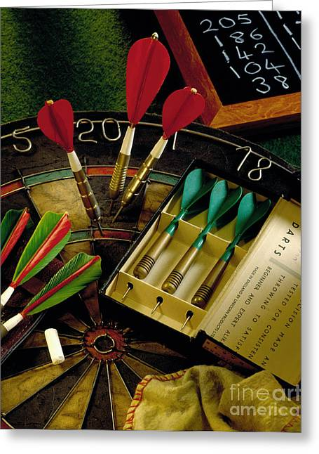 Bullseye Greeting Cards - Darts Greeting Card by Simon Kayne