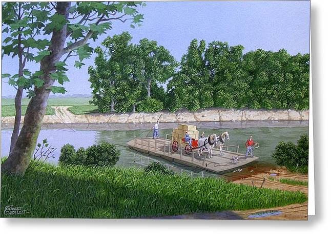 Indiana Rivers Paintings Greeting Cards - Darwin Ferry Greeting Card by C Robert Follett