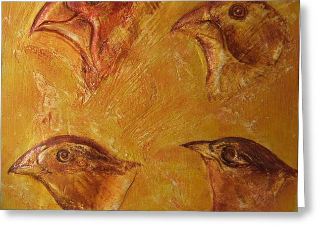 Selection Mixed Media Greeting Cards - Darwinian Study-01-Finches Greeting Card by Pat Bullen-Whatling
