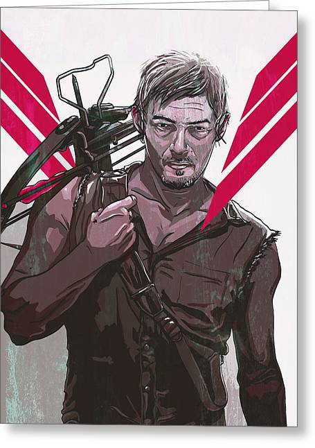 Zombies Greeting Cards - Daryl Dixon Greeting Card by Jeremy Scott