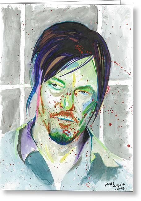 Andrew Michael Greeting Cards - Daryl Dixon Greeting Card by Kyle Willis