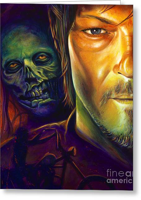 Framed Print Greeting Cards - Daryl Dixon Greeting Card by Scott Spillman