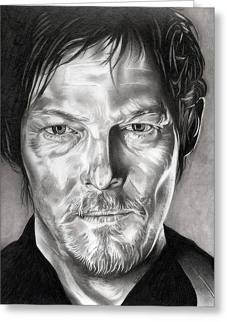 Living Dead Greeting Cards - Daryl Dixon - The Walking Dead Greeting Card by Fred Larucci
