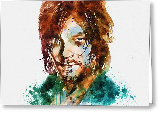 Survivor Art Greeting Cards - Daryl Dixon watercolor portrait Greeting Card by Marian Voicu