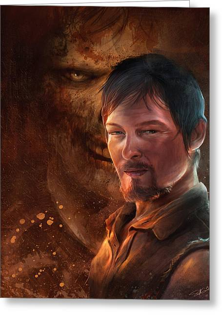 Zombies Greeting Cards - Daryl Greeting Card by Steve Goad
