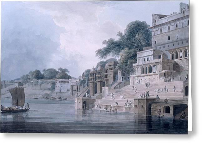 Sacred Drawings Greeting Cards - Dasasvamedha Ghat, Benares, Uttar Greeting Card by Thomas & William Daniell