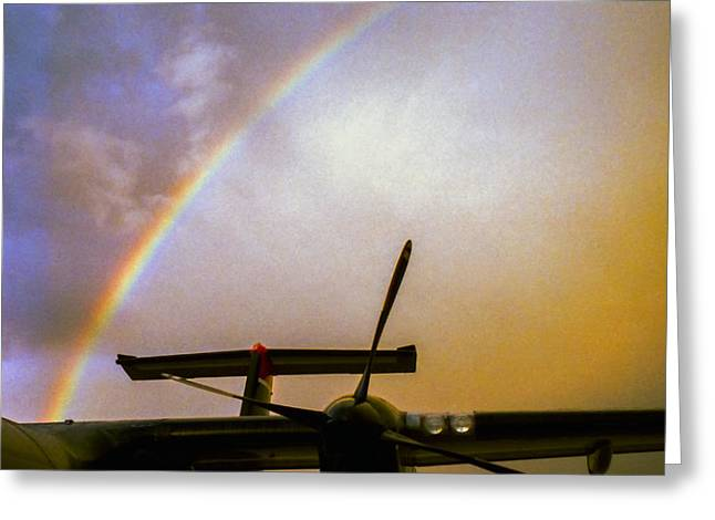 Dash 8 And Rainbow Greeting Card by Greg Reed