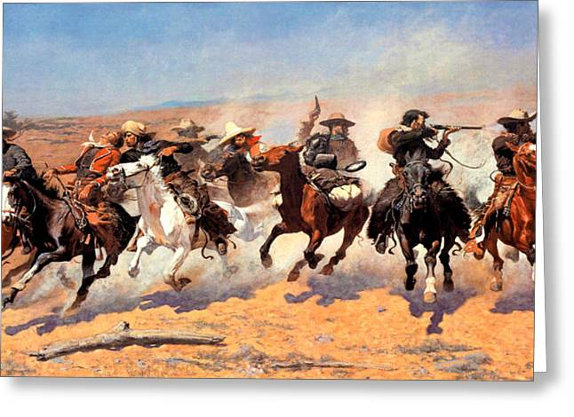 Dash Greeting Cards - Dash For The Timber Greeting Card by Frederic Remington