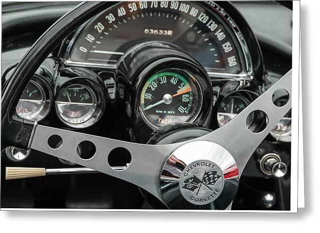 Recently Sold -  - Steering Greeting Cards - Dashing  1962 Corvette Greeting Card by Robert VanDerWal
