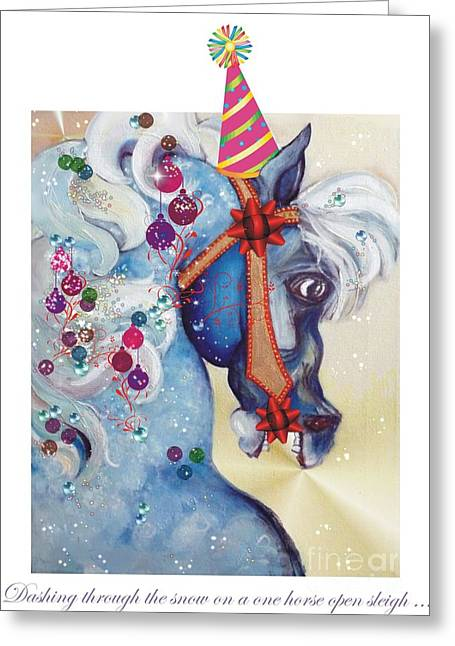 Party Hat Greeting Cards - Dashing Through the Snow Greeting Card by Carolyn Weltman