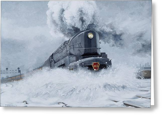 Trains Paintings Greeting Cards - Dashing Through the Snow Greeting Card by David Mittner