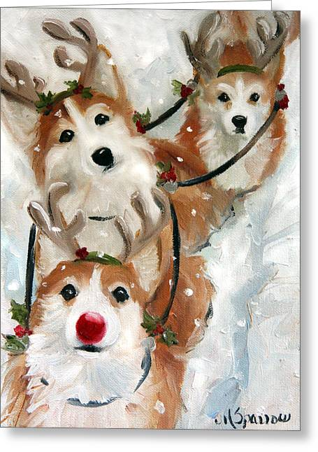 Rudolph Greeting Cards - Dashing Through the Snow Greeting Card by Mary Sparrow