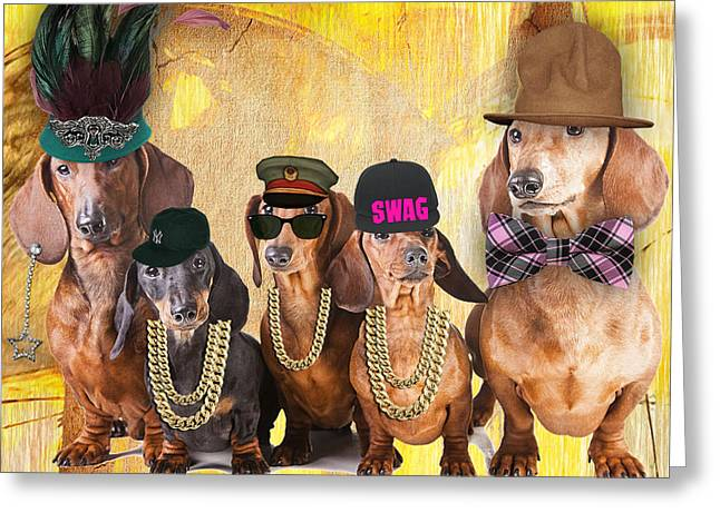 Dogs Greeting Cards - Dachshunds Greeting Card by Marvin Blaine