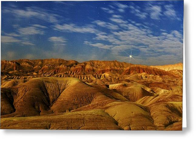 Moonlit Night Greeting Cards - Dasht-e Kavir desert at night, Iran Greeting Card by Science Photo Library