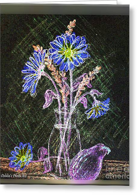 Blank Greeting Cards Mixed Media Greeting Cards - Dasies in the dark Greeting Card by Debbie Portwood