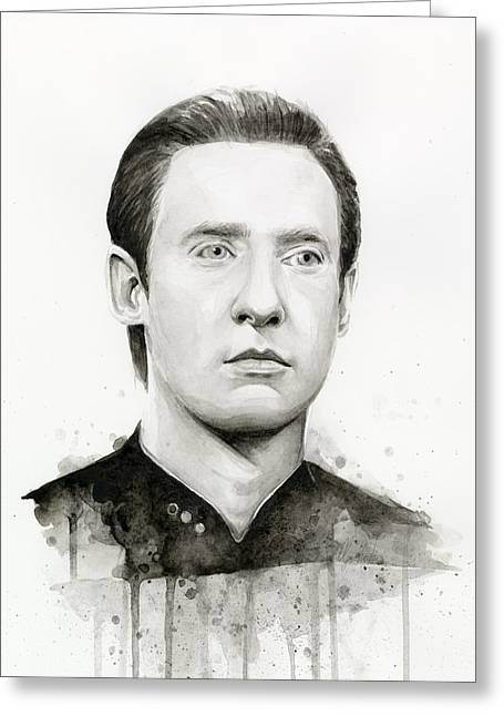 Trekkie Greeting Cards - Data Portrait Star Trek Fan Art Watercolor Greeting Card by Olga Shvartsur