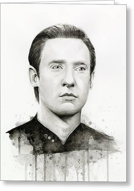 Trek Greeting Cards - Data Portrait Star Trek Fan Art Watercolor Greeting Card by Olga Shvartsur