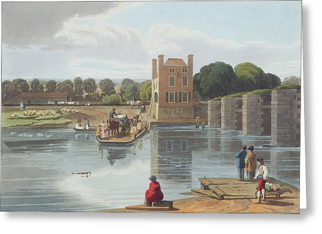 Horse And Cart Drawings Greeting Cards - Datchet Ferry, Near Windsor, Engraved Greeting Card by William Havell