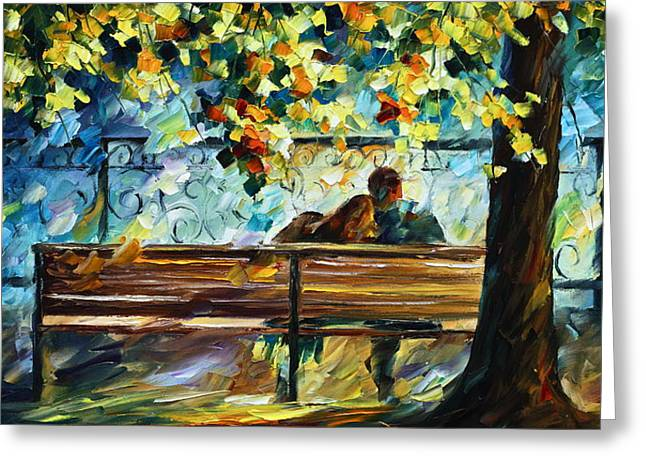 Park Benches Paintings Greeting Cards - Date on the Bench Greeting Card by Leonid Afremov